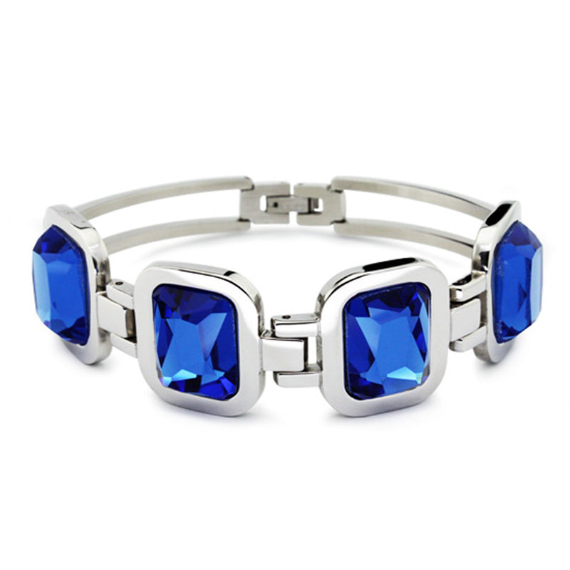 Stainless Steel Cocktail Style Blue Cubic Zirconia Bracelet - Tioneer