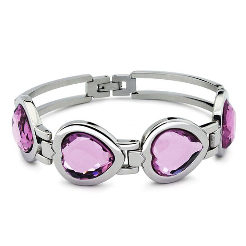 Stainless Steel Cocktail Style Pink Cubic Zirconia Heart Bracelet - Tioneer