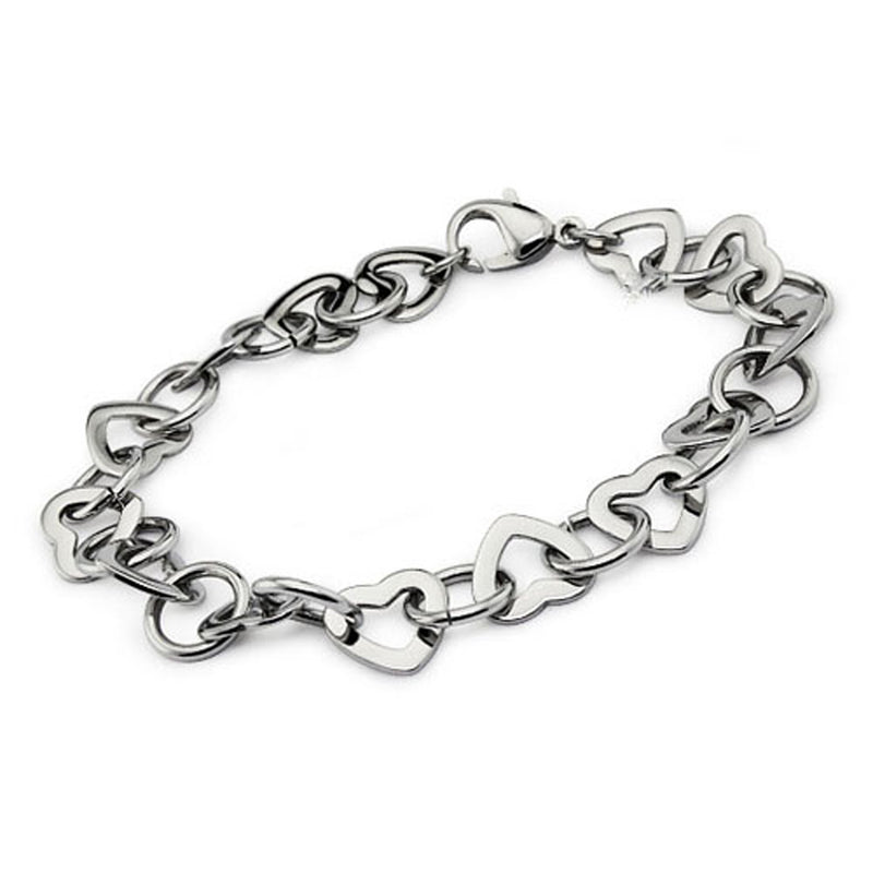 Stainless Steel Open Heart Cut-Out Link Bracelet - Tioneer