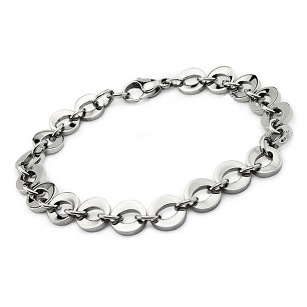 Stainless Steel Open Oval Cut-Out Link Bracelet - Tioneer