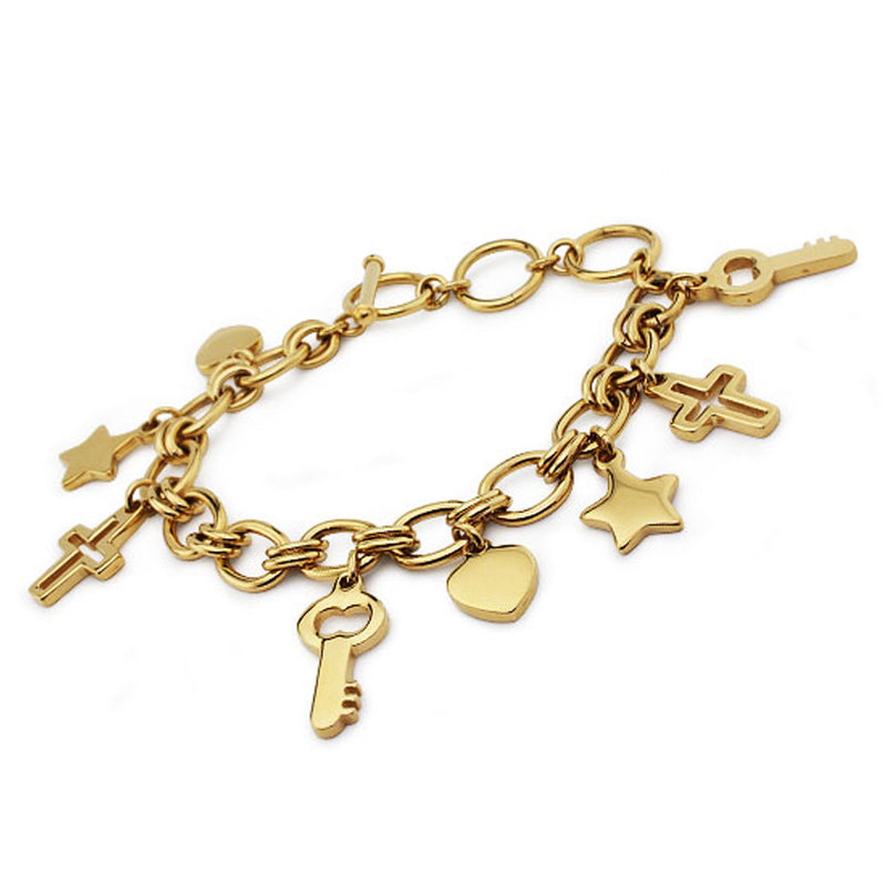 Gold Plated Stainless Steel Inspirational Charm Chain Bracelet - Tioneer