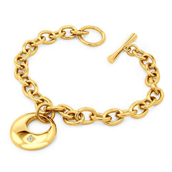 Gold Plated Stainless Steel Crescent Charm Cubic Zirconia Toggle Bracelet - Tioneer
