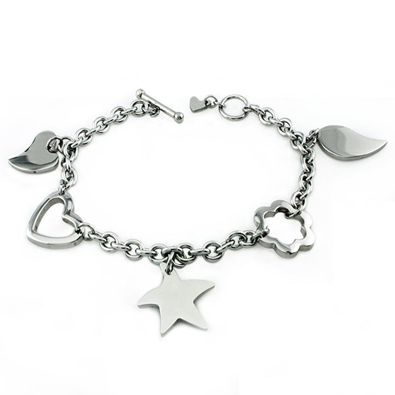 Stainless Steel Leaf Flower Heart Charm Link Toggle Bracelet - Tioneer
