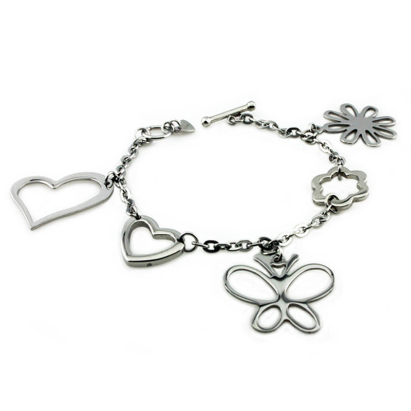 Stainless Steel Multiple Charm Link Toggle Bracelet - Tioneer