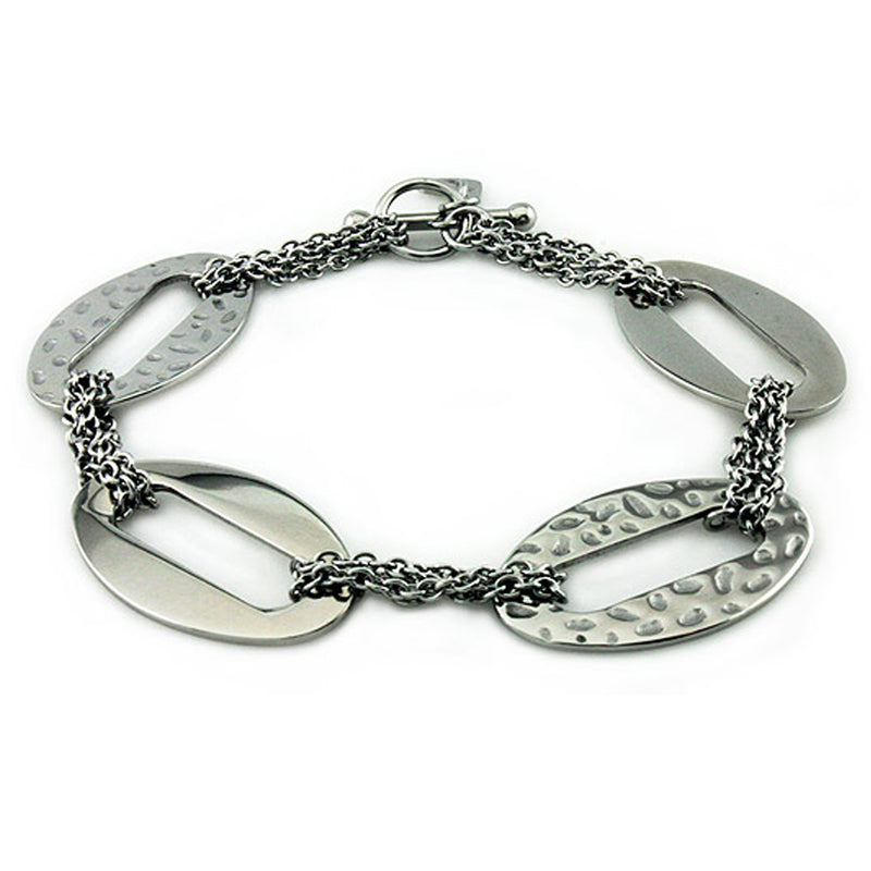 Stainless Steel Large Oval Hammered Style Chain Link Toggle Bracelet - Tioneer