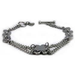 Stainless Steel Four Leaf Clover Charm Chain Link Toggle Bracelet - Tioneer