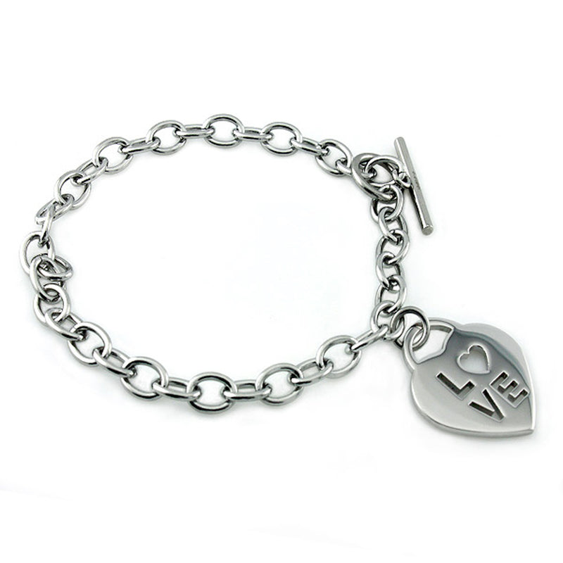 Stainless Steel Classic Love Cut-Out Heart Charm Toggle Bracelet - Tioneer