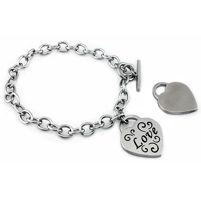 Stainless Steel Floral Love Heart Charm Toggle Bracelet - Tioneer