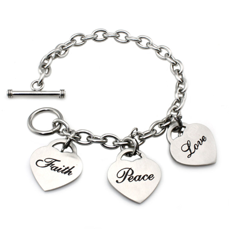 Stainless Steel Faith Peace Love Heart Charm Toggle Bracelet - Tioneer