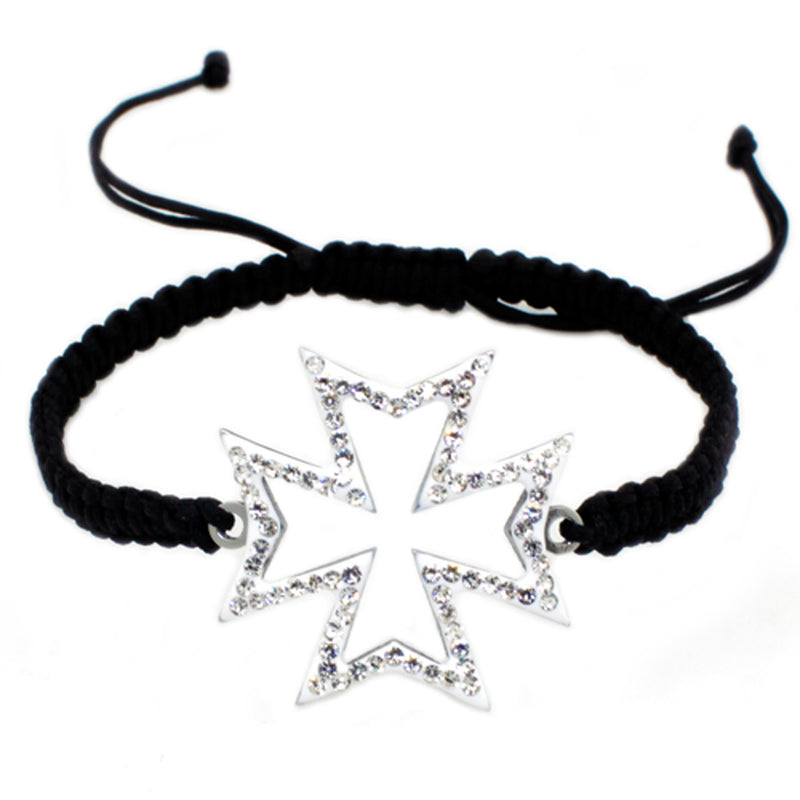 Stainless Steel Cubic Zirconia Iron Cross Adjustable Rope Bracelet - Tioneer