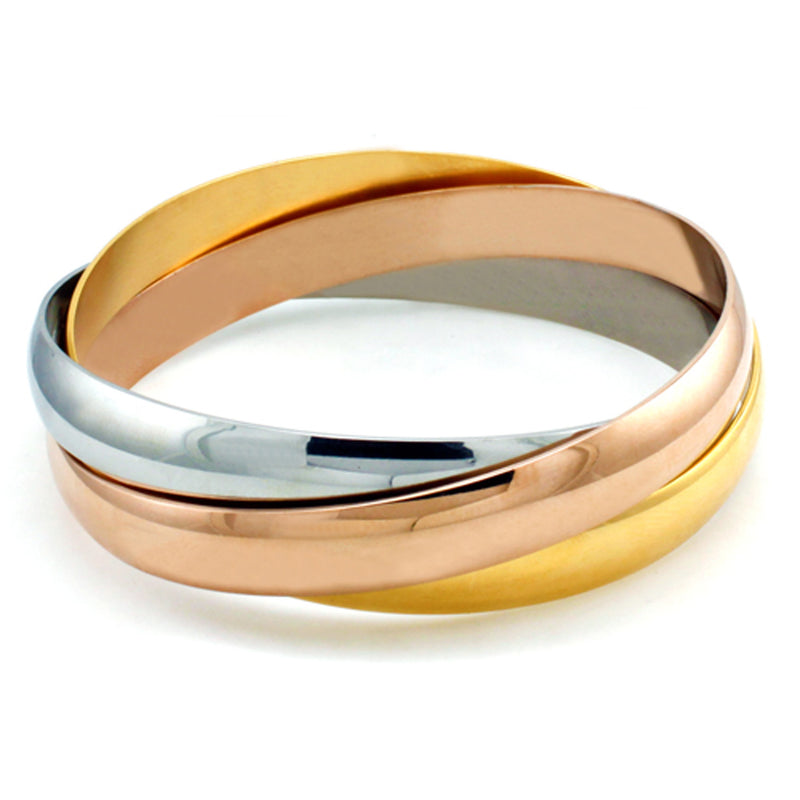 Stainless Steel Three-Tone Intertwined Bangle Bracelet - Tioneer
