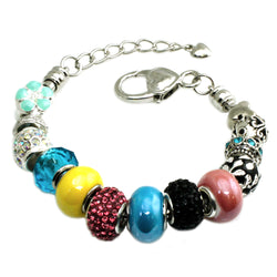 Metal Alloy Multi-Color Summer Colors Bead Charms Bracelet - Tioneer