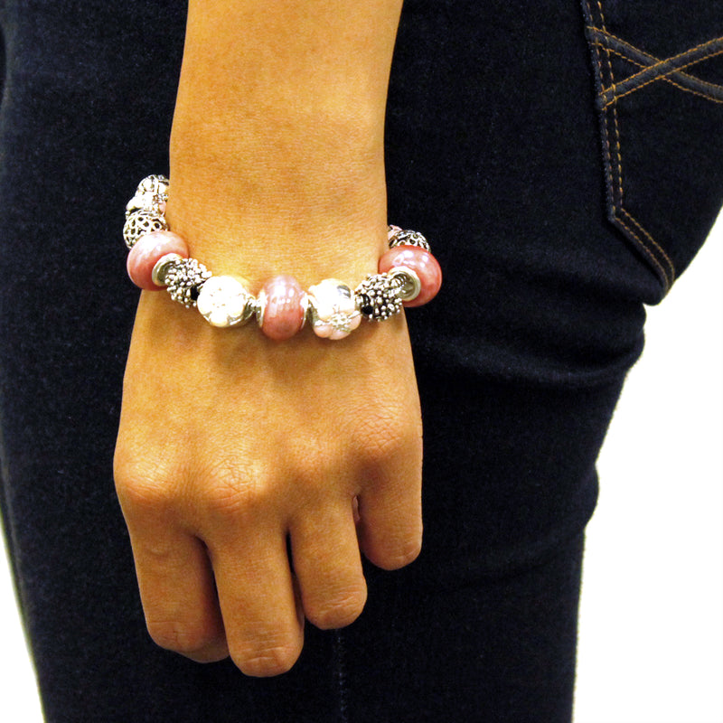 Metal Alloy Multi-Color Pink & Peach Bead Charms Bracelet - Tioneer