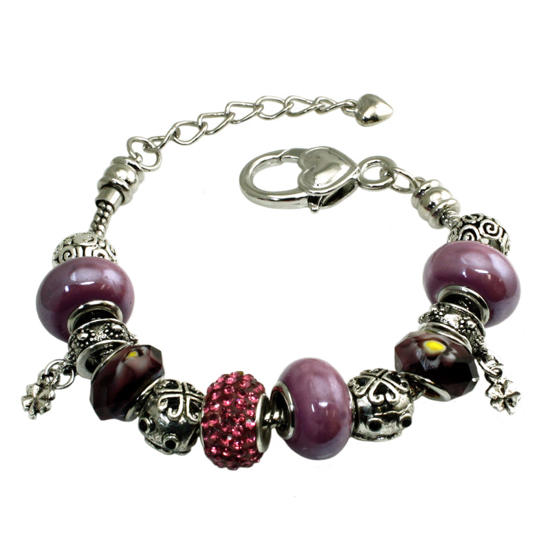 Metal Alloy Multi-Color Purple & Pink Bead Charms Bracelet - Tioneer