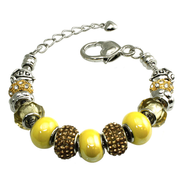 Metal Alloy Multi-Color Gold & Yellow Bead Charms Bracelet - Tioneer