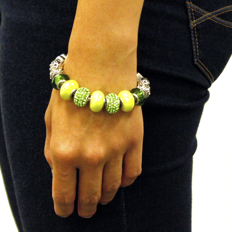 Metal Alloy Multi-Color Emerald & Green Bead Charms Bracelet - Tioneer