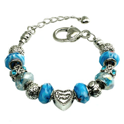 Metal Alloy Multi-Color Aqua Tie-dye Bead Charms Bracelet - Tioneer