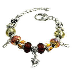Metal Alloy Multi-Color Citrine & Yellow Bead Charms Bracelet - Tioneer