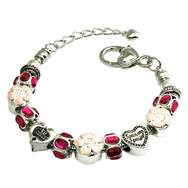 Metal Alloy Multi-Color Hot Pink & Peach Bead Charms Bracelet - Tioneer
