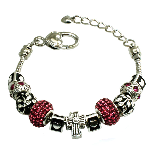 Metal Alloy Multi-Color Olive Leaves & Pink Gems Charms Bracelet - Tioneer