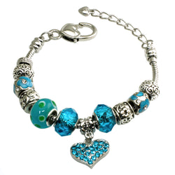 Metal Alloy Multi-Color Aquamarine CZ Gems Charms Bracelet - Tioneer