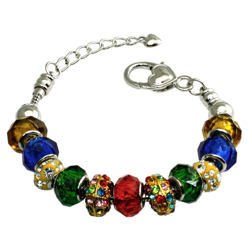 Metal Alloy Multi-Color Royal Rainbow Gems Charms Bracelet - Tioneer