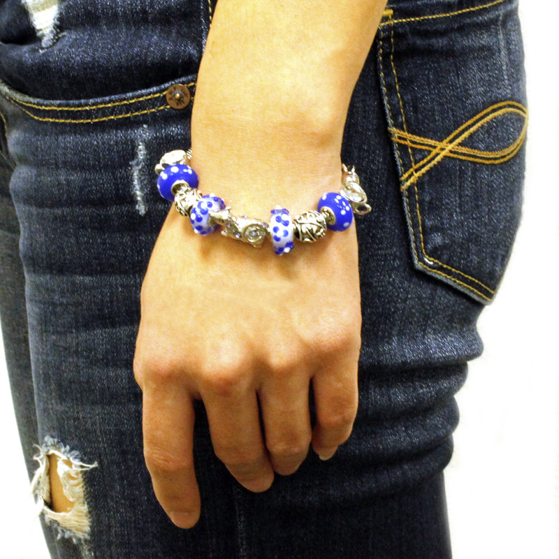 Metal Alloy Antique China Blue with Puppy Bead Charm Bracelet - Tioneer
