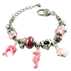 Metal Alloy Seahorse & Fish Nautical Themed Bead Charm Bracelet - Tioneer