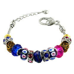 Metal Alloy Antique Golden Rose & Sapphire Colored CZ Bead Charm Bracelet - Tioneer