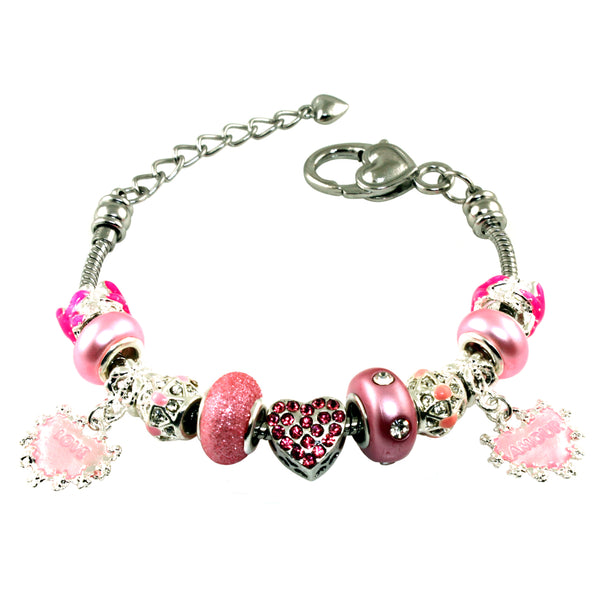 Metal Alloy Pink Starfish & Hearts with CZ Bead Charm Bracelet - Tioneer