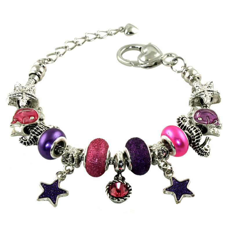 Metal Alloy Starfish Seahorse Nautical Themed Bead Charm Bracelet - Tioneer