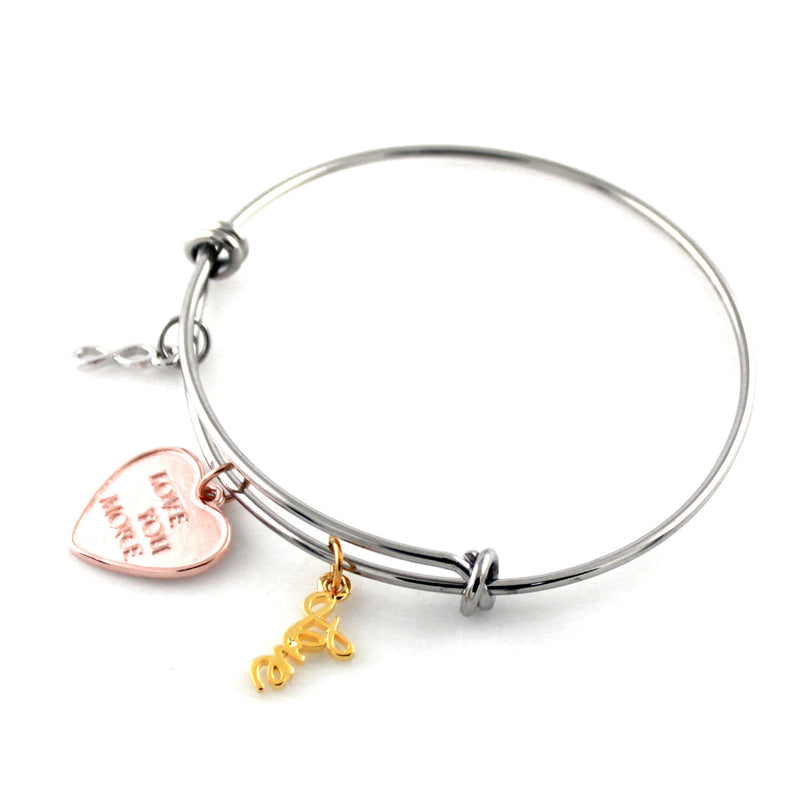Stainless Steel Adjustable Love You More Infinity Charm Bangle Bracelet - Tioneer