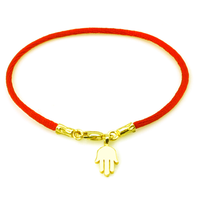 Gold Plated Sterling Silver Hamsa Red Rope Charm Bracelet - Tioneer