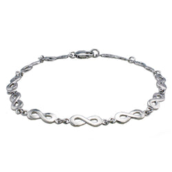 Sterling Silver Figure 8 Infinity Symbol Chain Link Bracelet - Tioneer