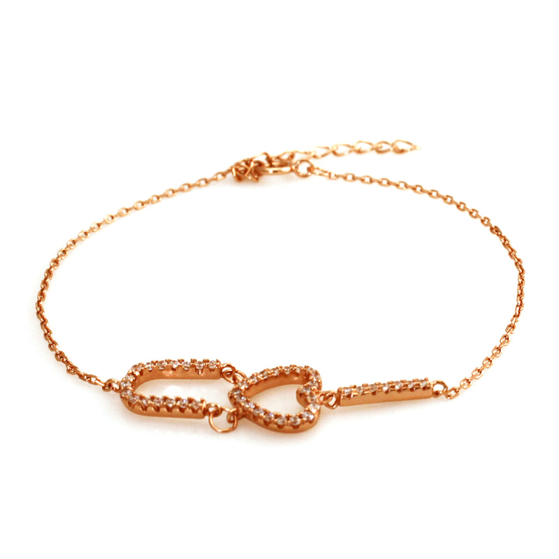 14K Rose Gold Plated Sterling Silver I Heart U Charm Bracelet - Tioneer