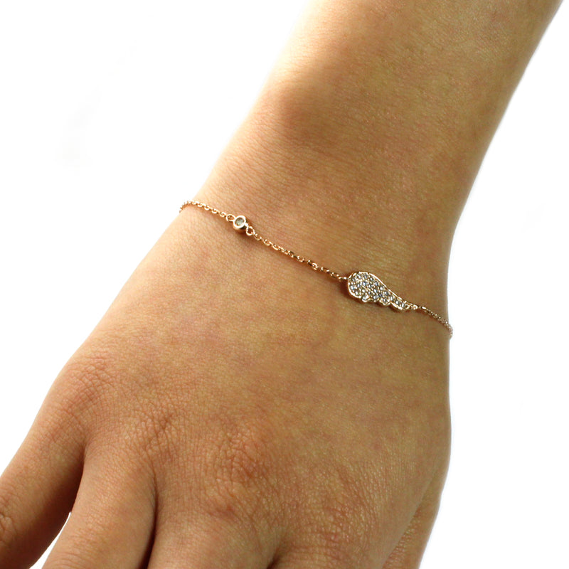 14K Rose Gold Plated Sterling Silver Cubic Zirconia Wing Charm Bracelet - Tioneer
