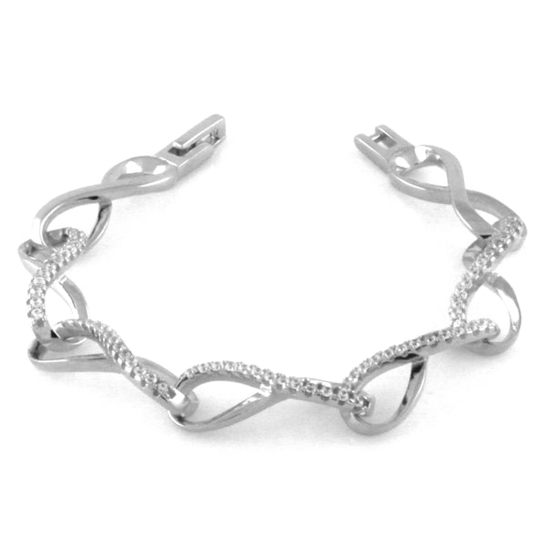 Sterling Silver Twisted Cubic Zirconia Infinity Link Bracelet - Tioneer