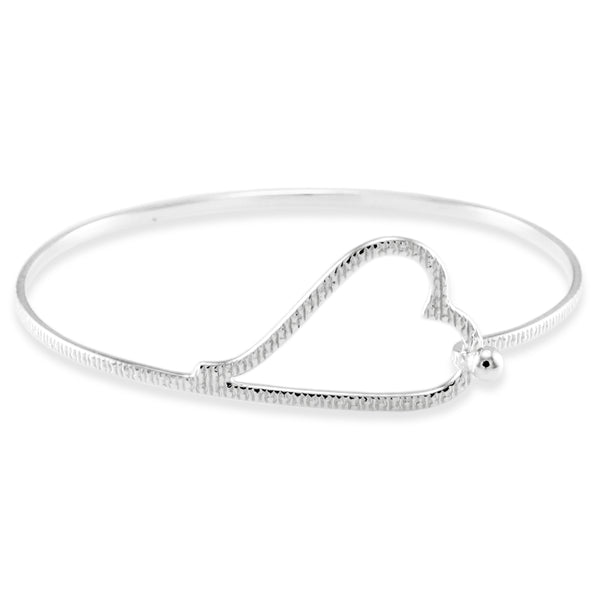 Sterling Silver Grain Pattern Heart Design Bangle Bracelet - Tioneer