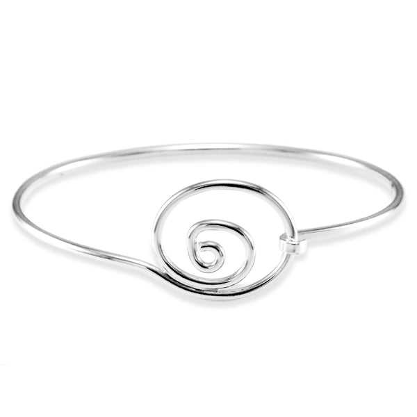 Sterling Silver Swirl Design Bangle Bracelet - Tioneer