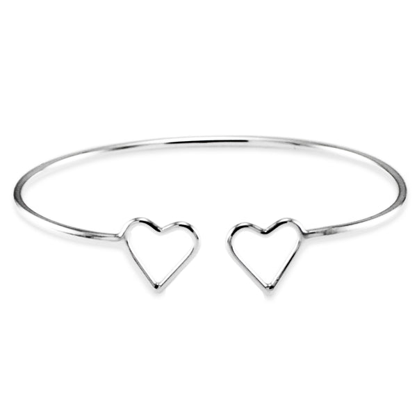 Sterling Silver Two Hearts Design Bangle Bracelet - Tioneer