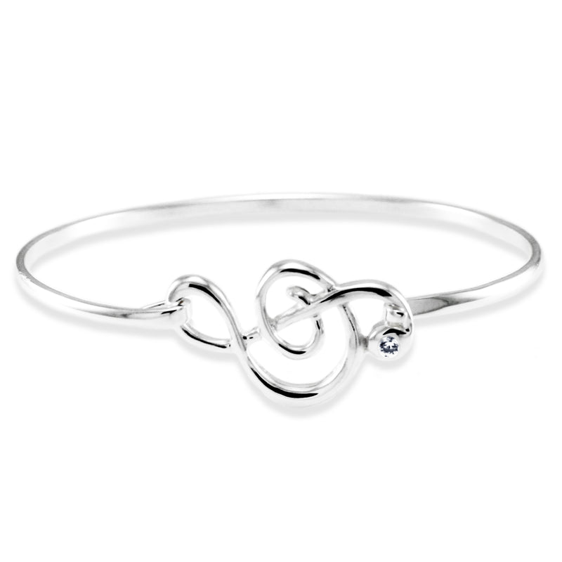 Sterling Silver Treble Clef Cubic Zirconia Design Bangle Bracelet - Tioneer
