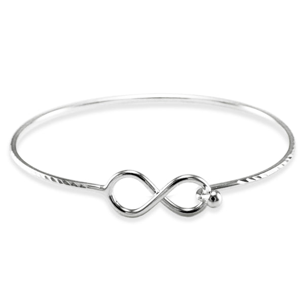 Sterling Silver Infinity Diamond Cut Design Bangle Bracelet - Tioneer