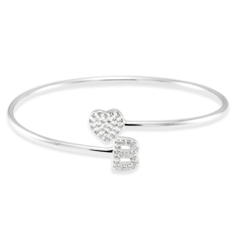 Sterling Silver Cubic Zirconia Heart and B Initial Design Bangle Bracelet - Tioneer