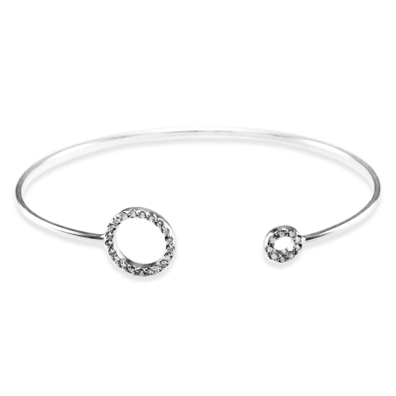 Sterling Silver Cubic Zirconia Dual Circle Design Bangle Bracelet - Tioneer