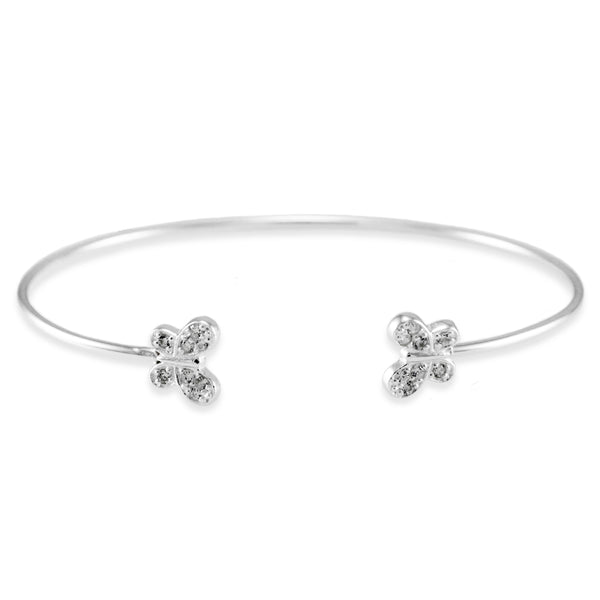 Sterling Silver Cubic Zirconia Twin Butterfly Design Bangle Bracelet - Tioneer