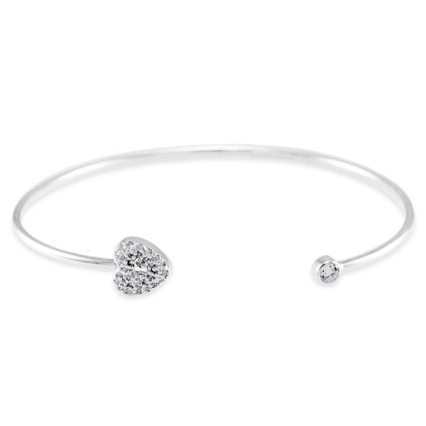 Sterling Silver Cubic Zirconia Key to My Heart Design Bangle Bracelet - Tioneer