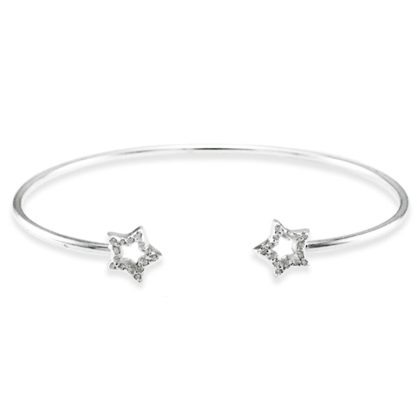 Sterling Silver Cubic Zirconia Double Star Design Bangle Bracelet - Tioneer