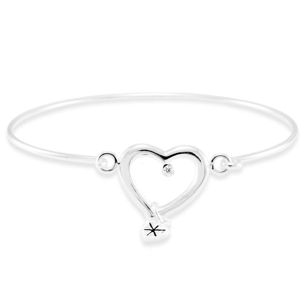 Sterling Silver Eternal Heart Design Bangle Bracelet - Tioneer