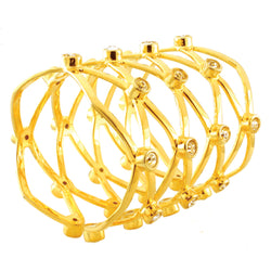 Gold Plated Brass Intertwined Cubic Zirconia Shimmer Bangle Bracelet - Tioneer