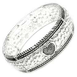 Antique Silver Plated Brass Heart Imprints Stretchable Bangle Bracelet - Tioneer